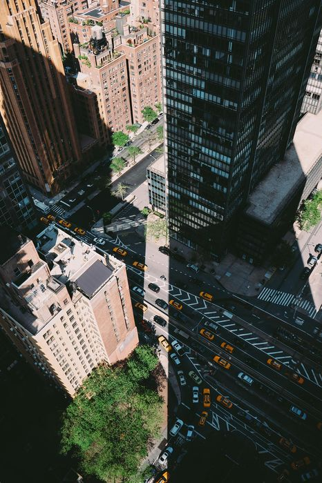 city traffic cars taxi road top view