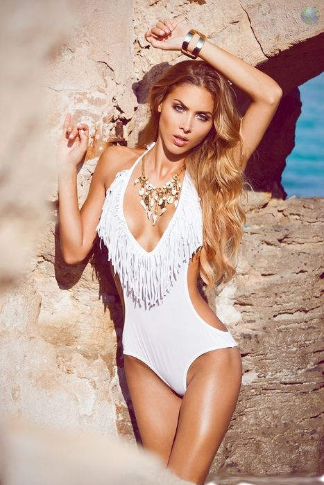 girl ann kathrin brommel sexy model white swimsuit sun