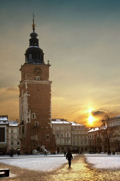 krakow center sunset winter