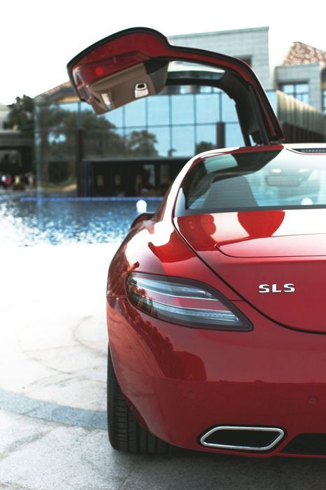mercedes sls red open door vertical supercar