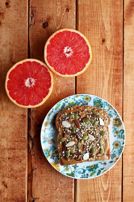 table grapefruit bread tasty 1280x1920