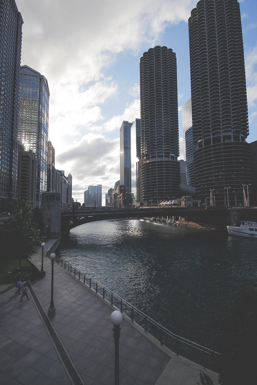 skyscrapers river city wallpaper