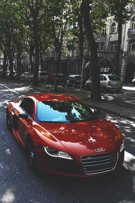 audi a8 red street trees
