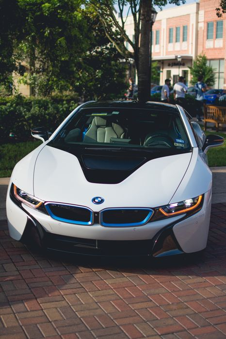 bmw i8 white sportcar wallpaper street