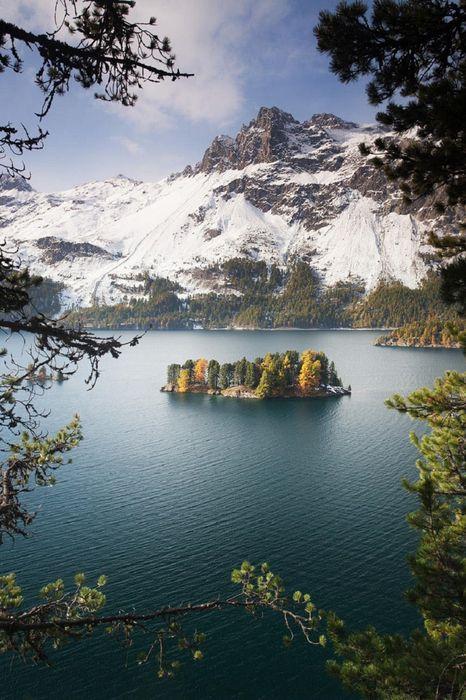 lake mountain trees island