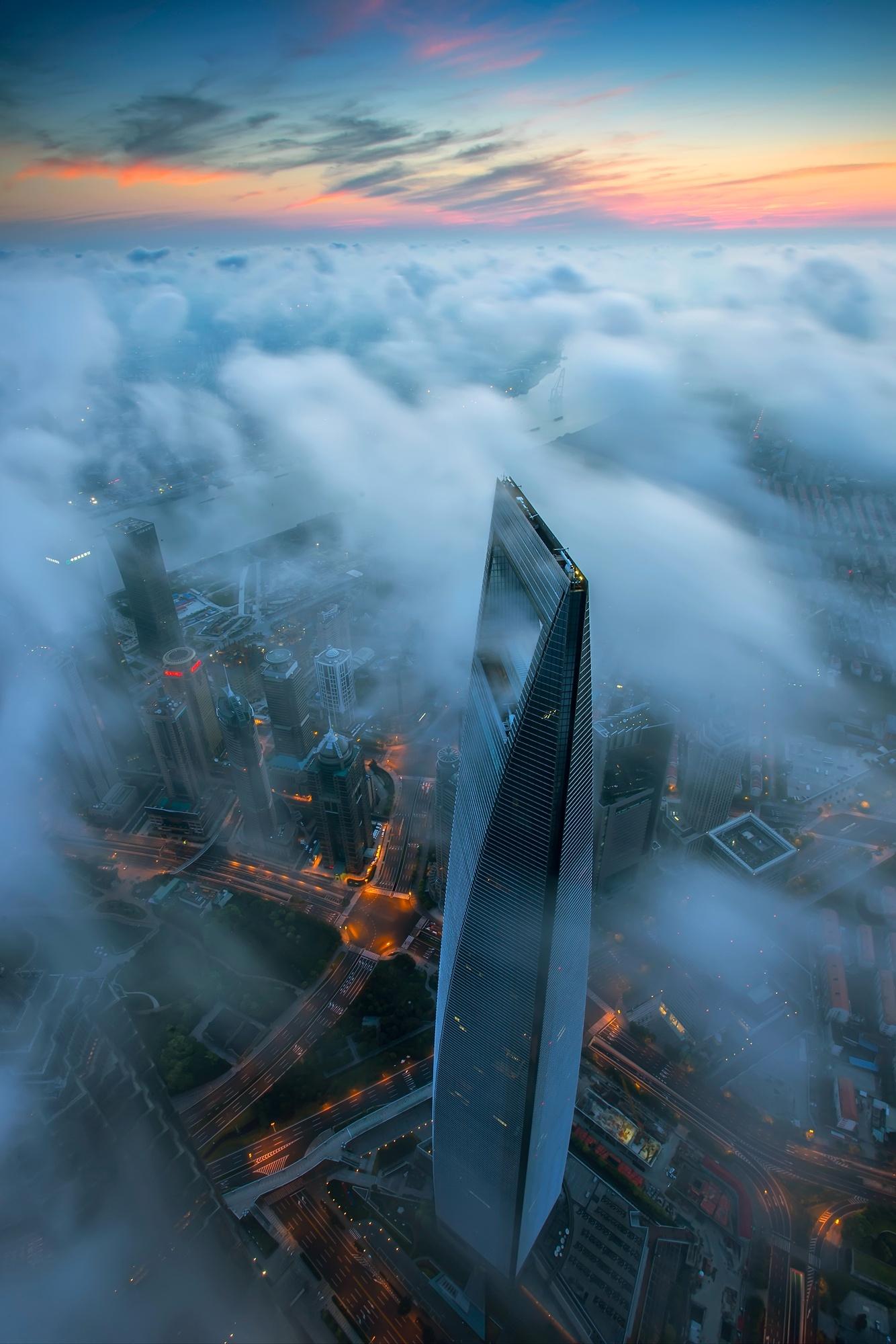 shanghai world financial center fog sunset