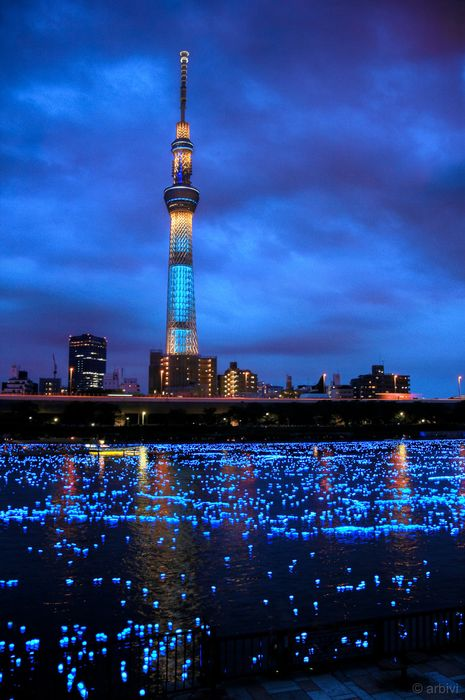 tower blue lights water night