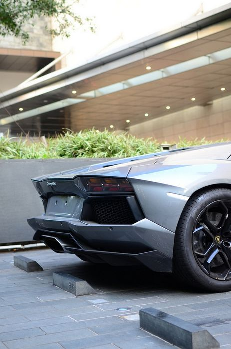 aventador lamborghini silver back parking