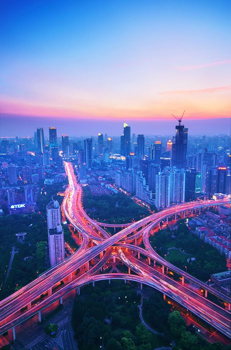 city light violet blue pink highway sunset
