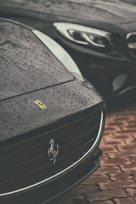 ferrari mercedes black sportcar drops rain macro