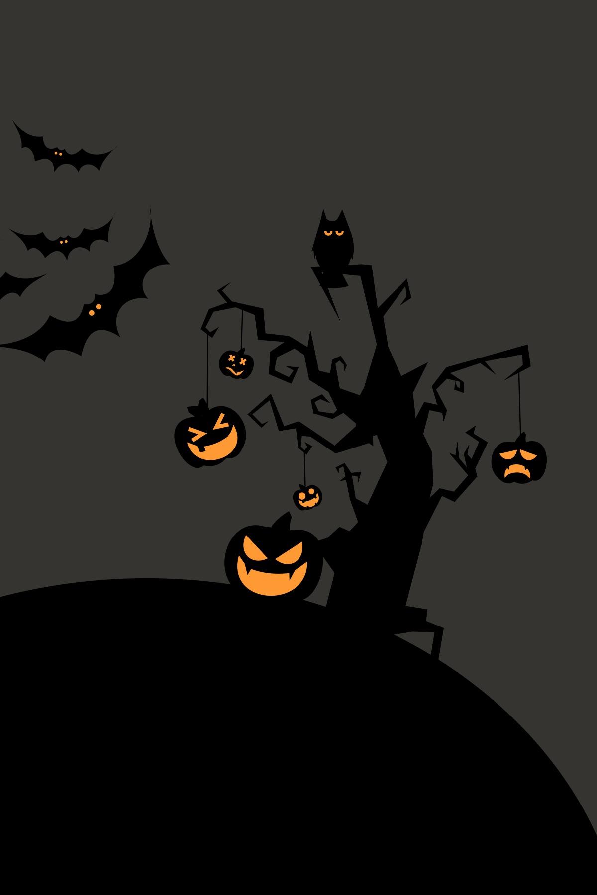 halloween silhouette moon eerie pumpkin bat scary lantern fright