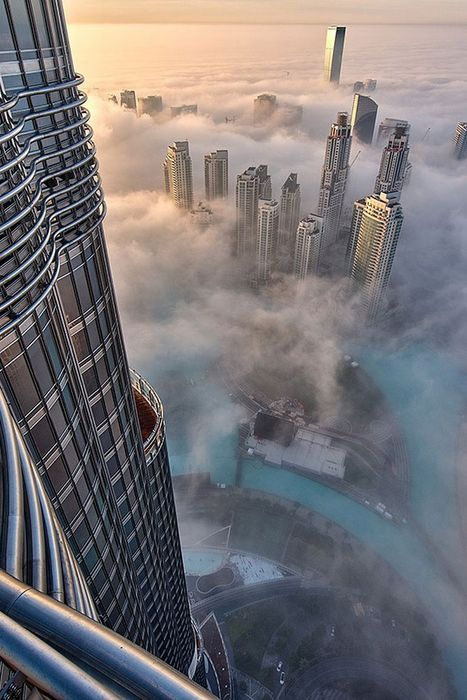 dubai fog skyscrapers from top