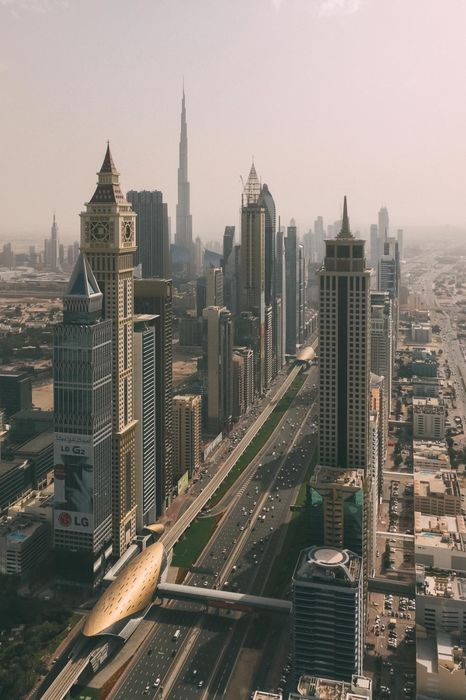 dubai skyscrapers highway view