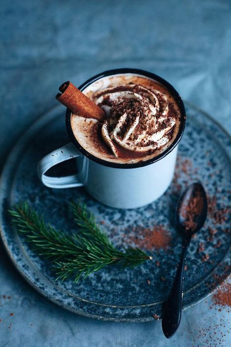 hot chocolate blue cup