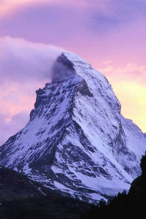 matterhorn mountain snow violet sky