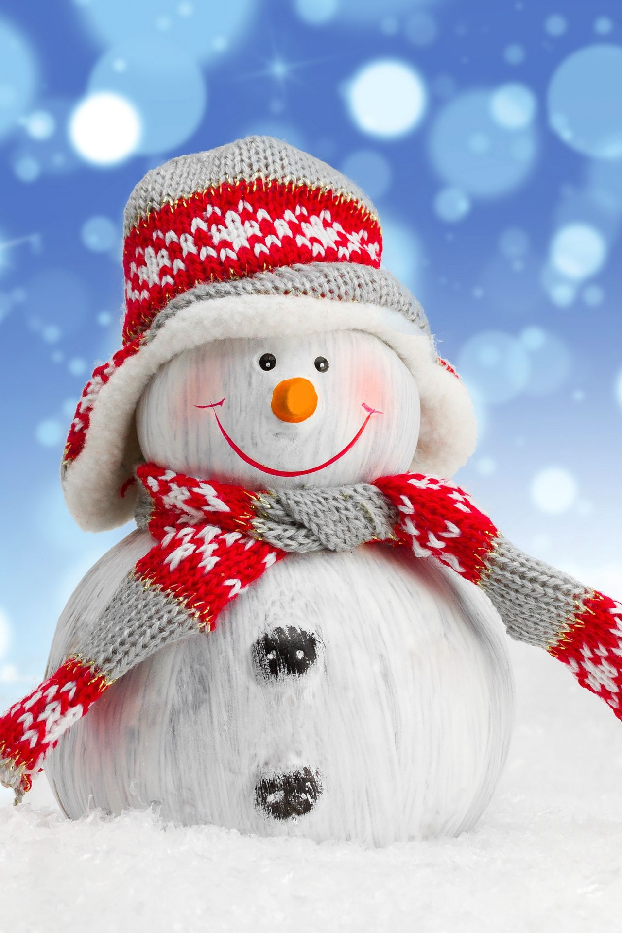 winter snow merry christmas snowman red white 1280x1920