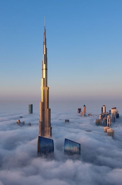clouds burj khalifa beautiful place in dubai