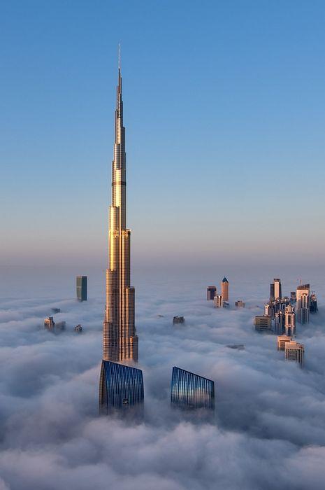 clouds burj khalifa beautiful place in dubai