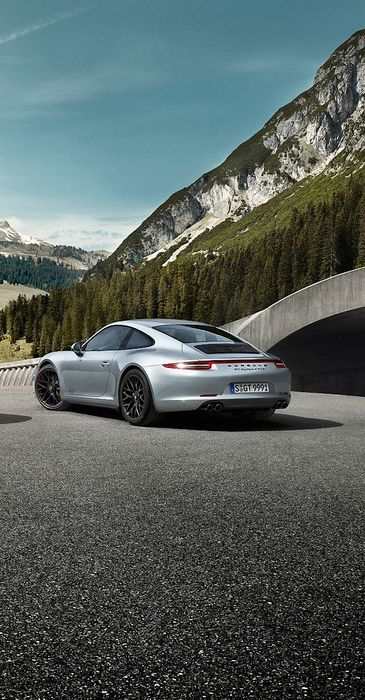 porsche car motor sportscars mountain trees asphalt