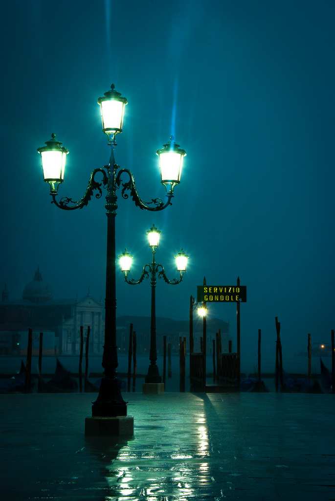 rainy night street lamp