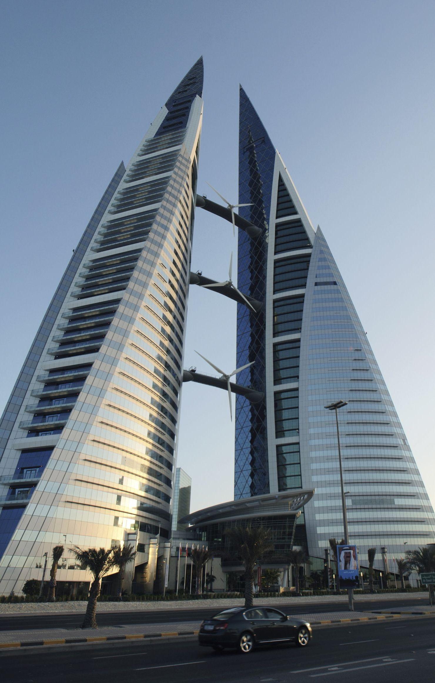 triangle skyscraper bahrain trade center modern architecture retina