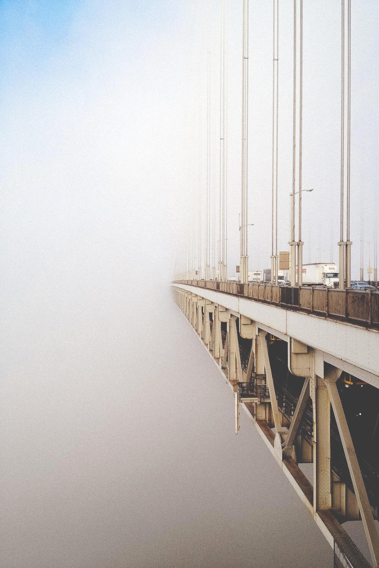 bridge in fog architecture wallpaper