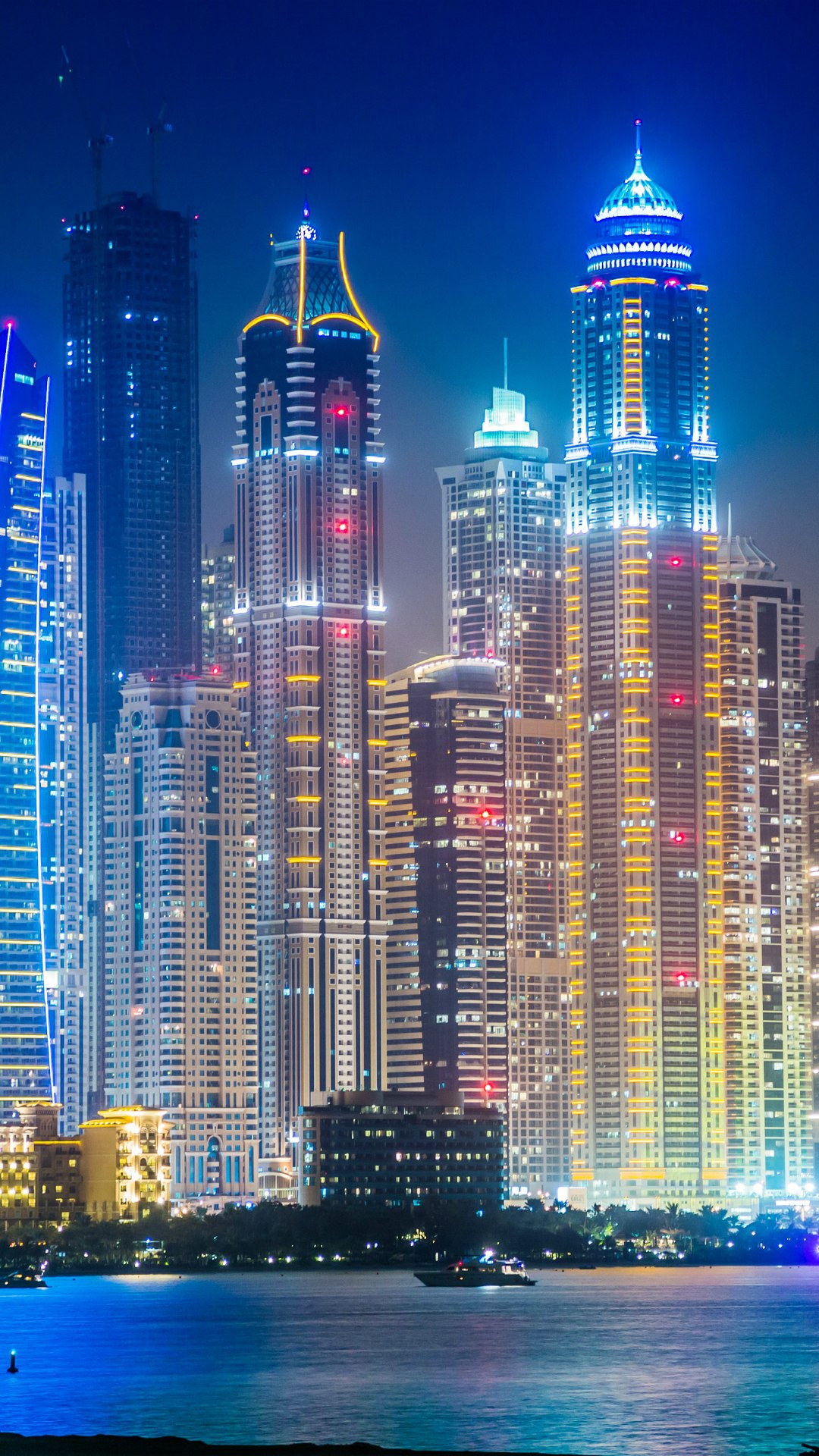 dubai live night skyscrapers lights 1080x1920
