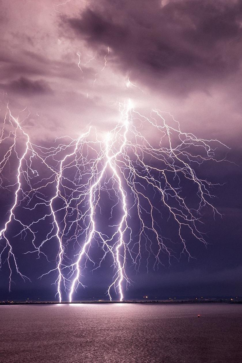 lightning violet sky