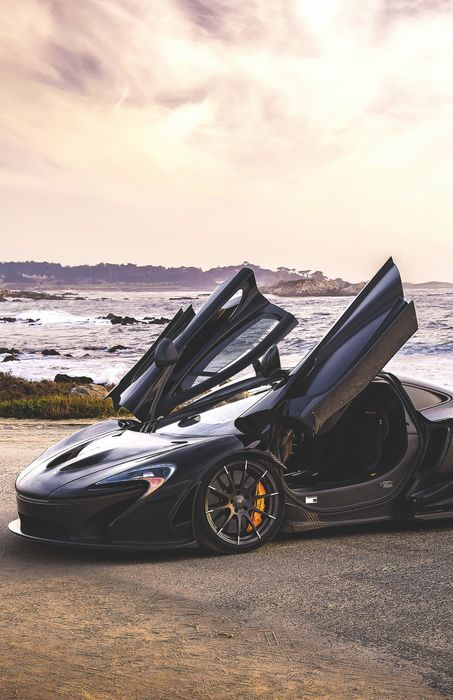 black maclaren p1 automobile sportscar open door