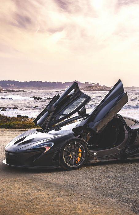 black maclaren p1 automobile sportscar open door