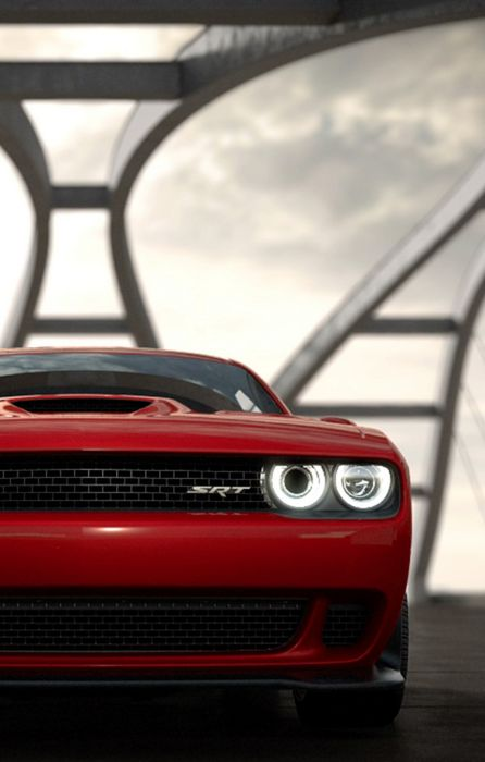 dodge challenger srt red front retina