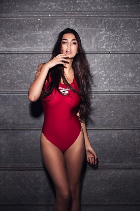 girl model hailee lautenbach red swimsuit
