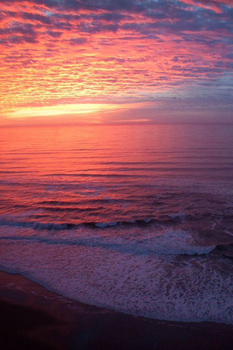 pink violet ocean beach sea sun water body of sky coast sunset landscape