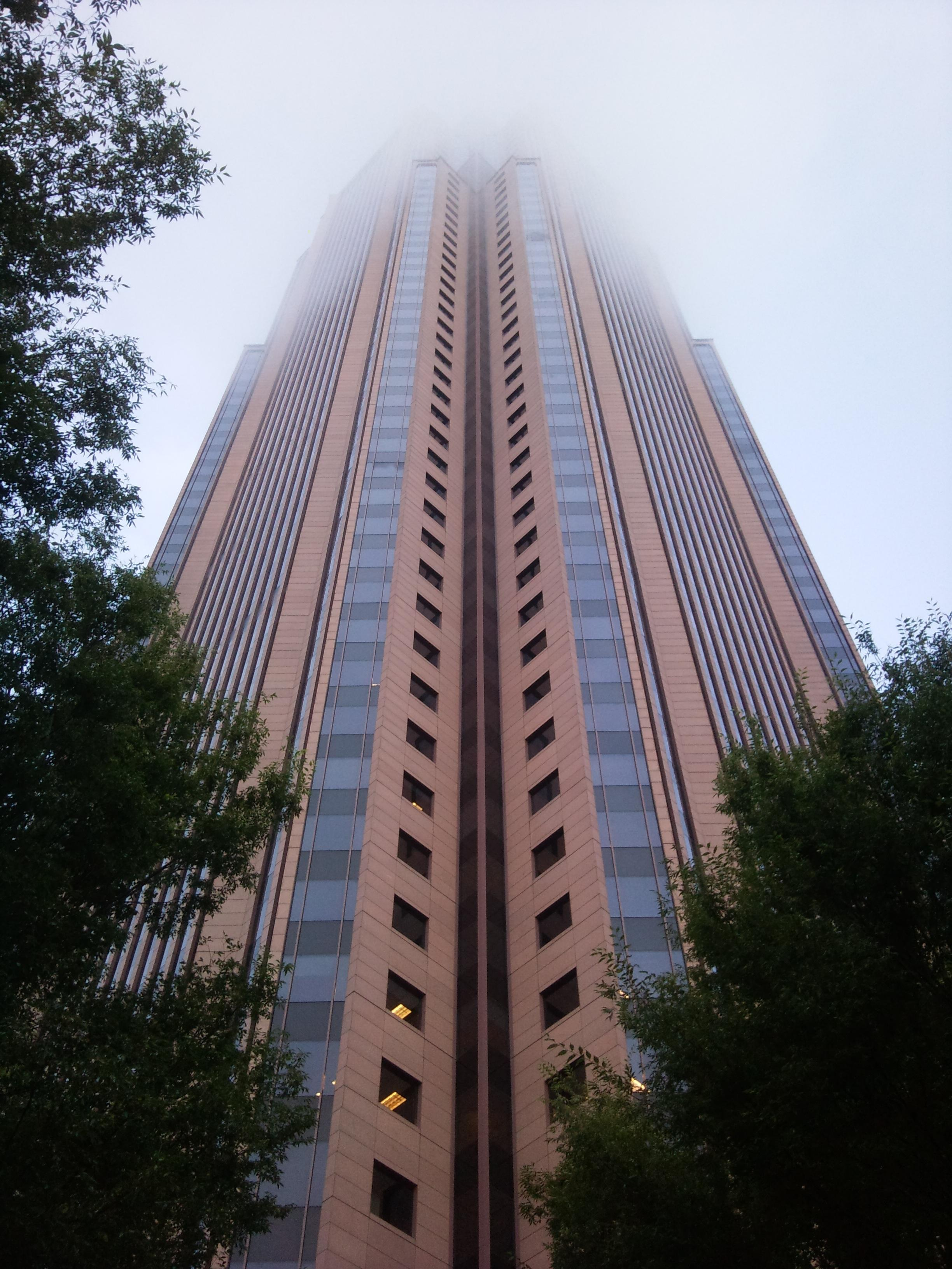 bank of america plaza atlanta usa fog skyscraper