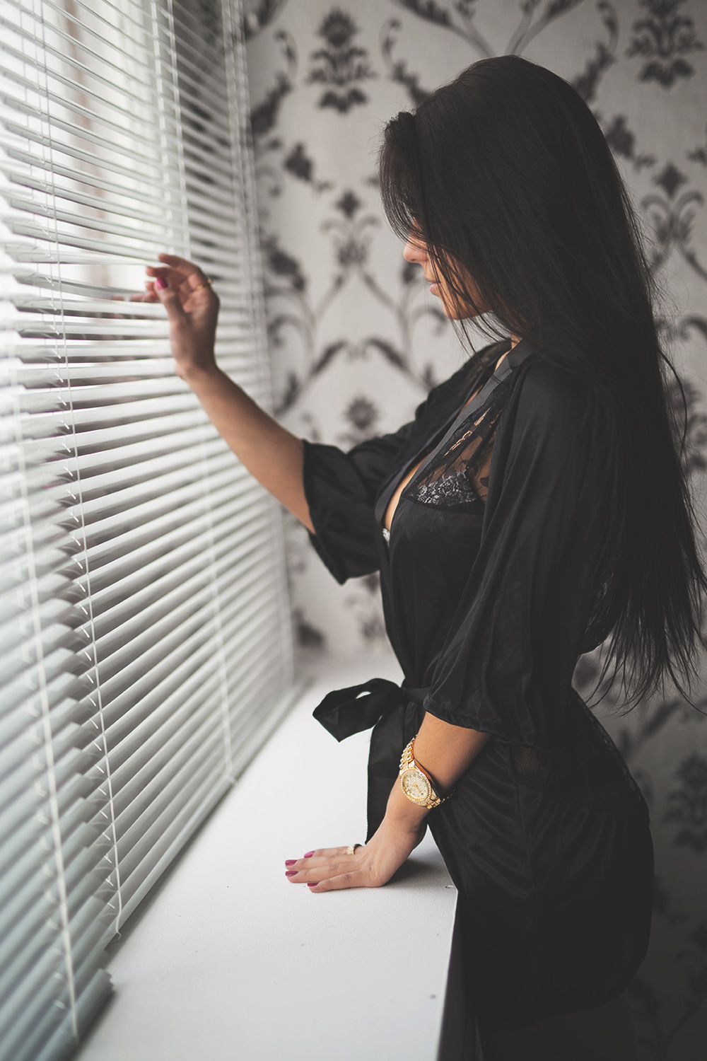 beautifull brunette girl lingerie sexy window