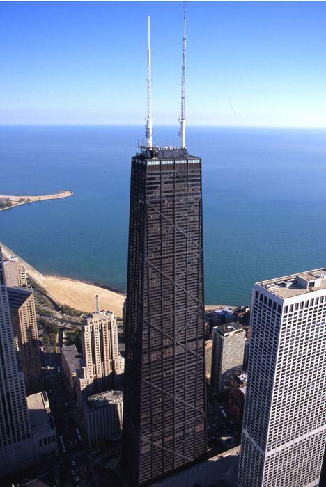 chicago john hancock skyscraper black lake