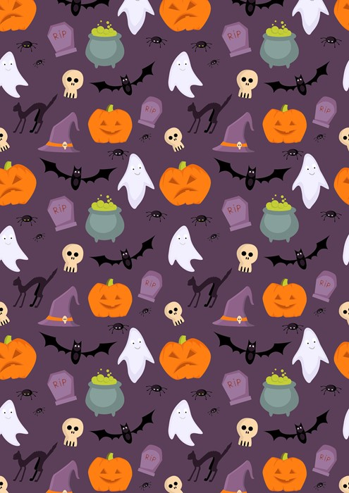 halloween illustration sketch vector repetition toy rabbit child owl cute halloween background