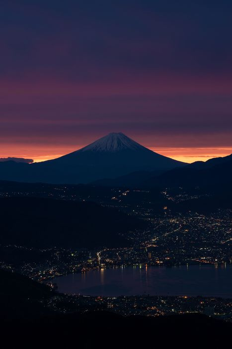 japan sunset mountain fujiyama city lights