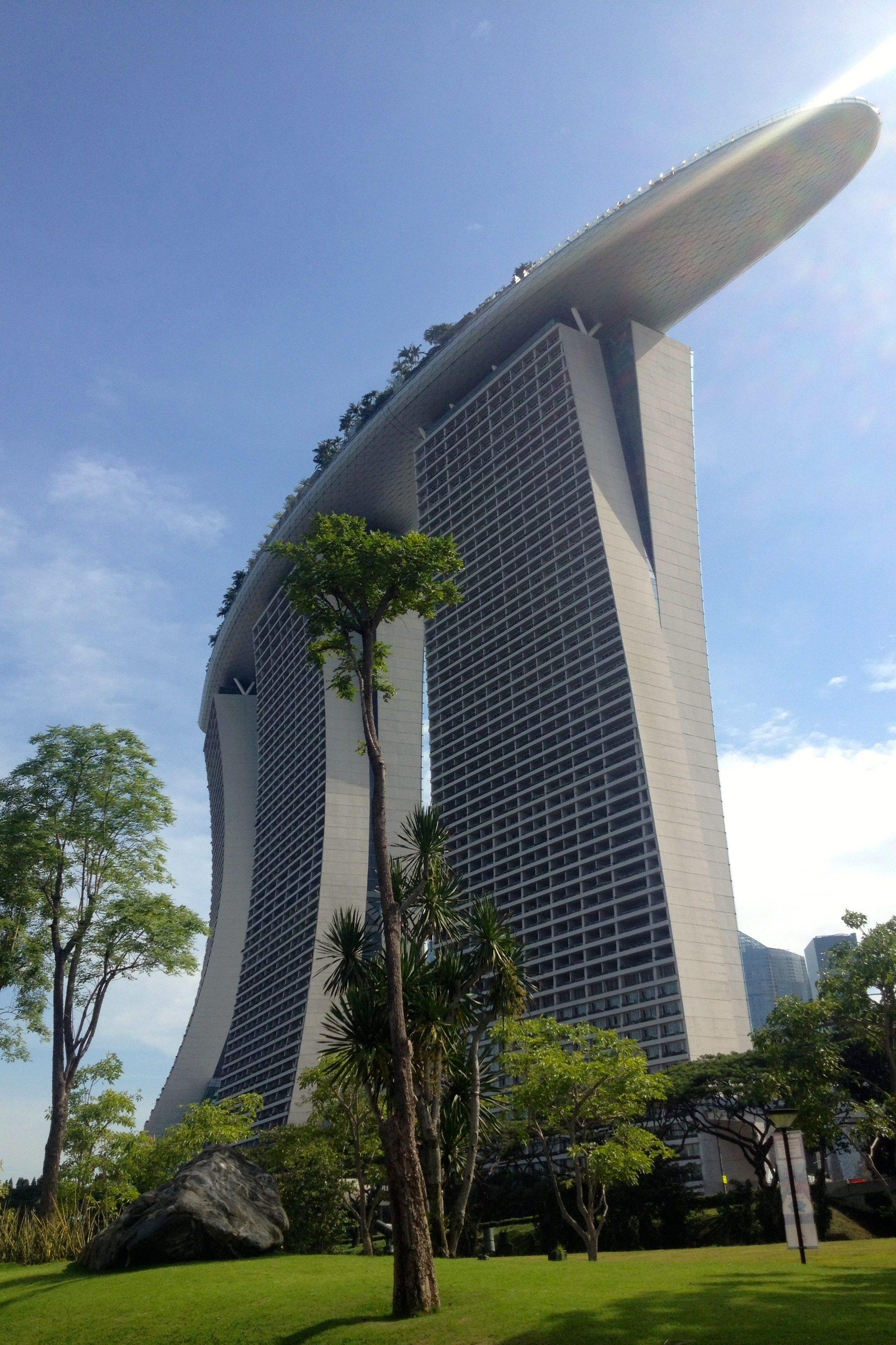 singapore marina hotel sky architecture grass city building structure