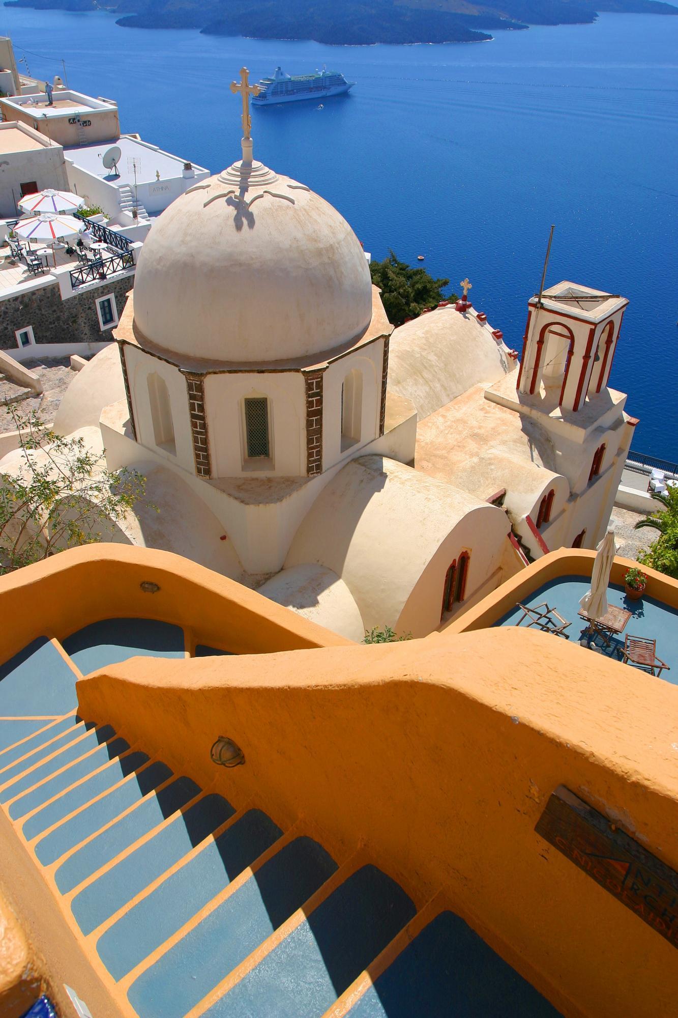 greece santorini houses sea water summer sun