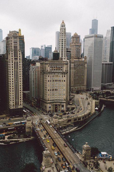 chicago city skyline cityscape architecture bridge night buildings tower