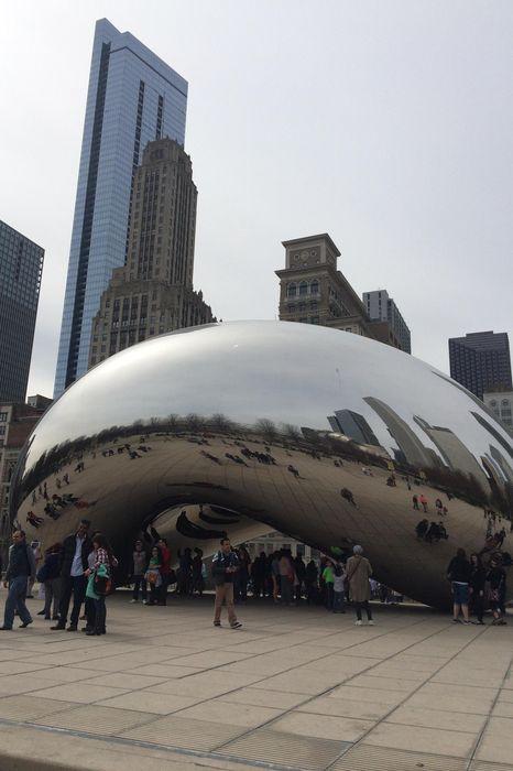 chicago glass street sculpture bean tourists