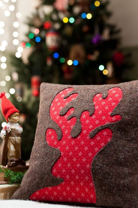 christmas deer pillow tree lights mood happy