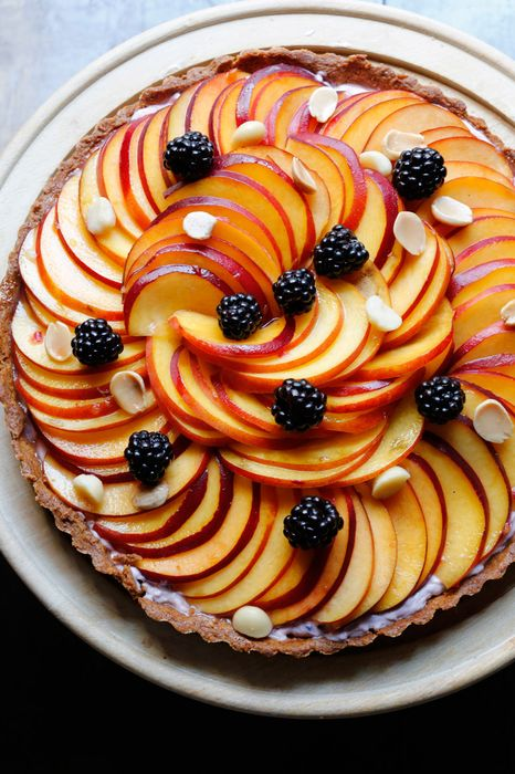 food photo blackberry peach tart chocolate delicious dessert plate yellow sweet tasty fresh