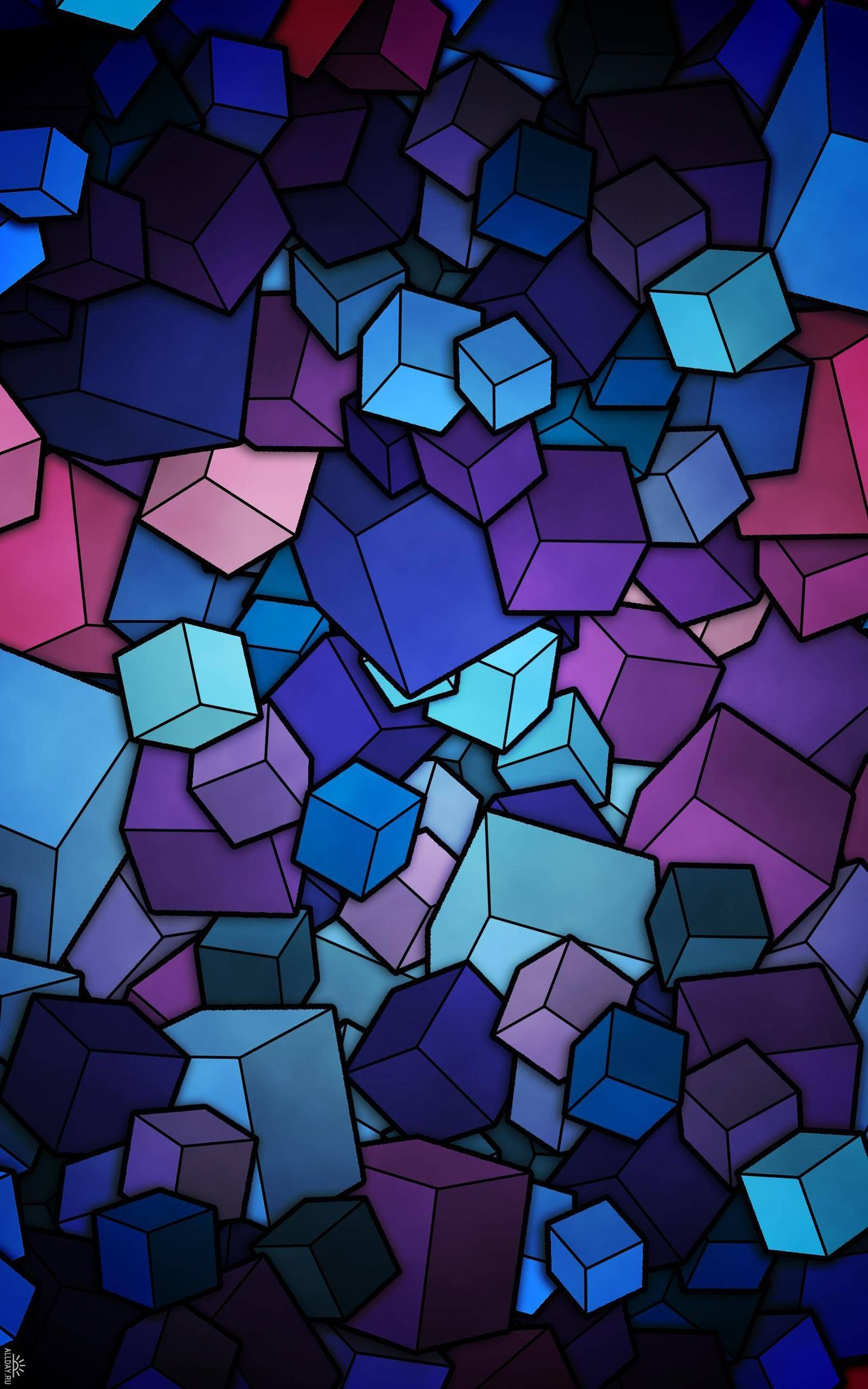 abstratcion cubes blue violet cyan background