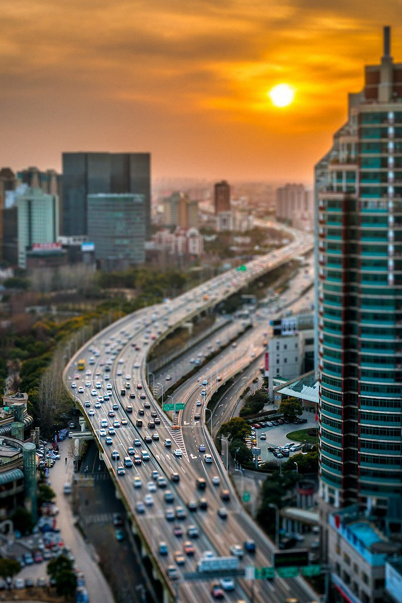 highway tilt shift city cityscape architecture skyline urban building skyscraper buildings