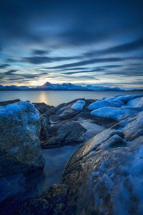 blue stones ocean sky water