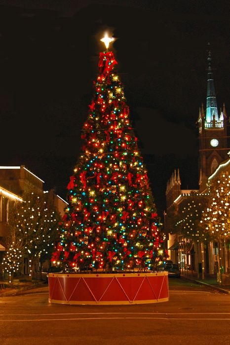 christmastree red lights city decoration