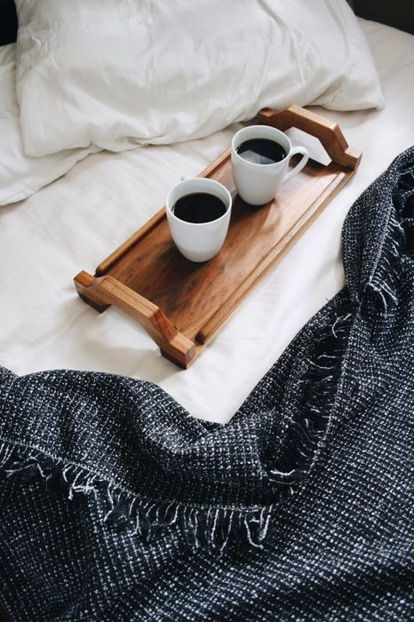 morning coffee bed pillow cups