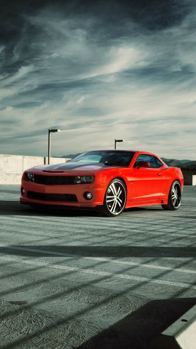 speed camaro red sportscar sky wallpaper